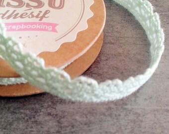 Ribbon lace 1 cm Mint cotton scrapbooking adhesive
