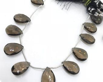 "12X18MM Smoky Quartz  Faceted Pear Briolette, , Length 8"" of strand. gemstone briolette"