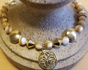 Mother Of Pearl Circle Of Life Charm Bracelet