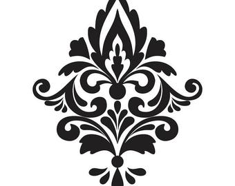 "Large ( 12"" - 25"" ) Damask Pattern wall vinyl decal, damask wall decals, Nursery wall decal, Wall decal, damask wall decals"