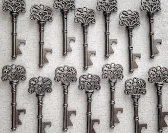 "Skeleton Key BOTTLE OPENERS – Set of 50 – Gunmetal Black – 3"" Long (76mm) –Vintage Style - Create Your Own Wedding Favors! Ships from USA."