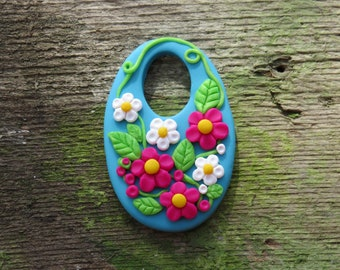Polymer Clay Turquoise and Magenta Flower Pendant//Polymer Clay Pendant//Turquoise Floral Pendant//Fuchsia Flower Pendant