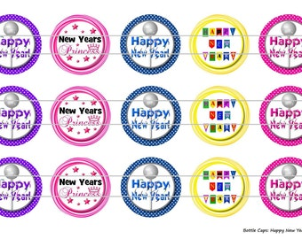 """15 Happy New Years 2 Digital Download for 1"""" Bottle Caps (4x6)"""