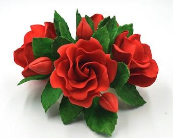 Red Roses Sugar Flower Arrangement