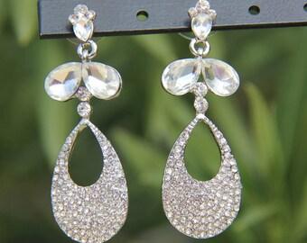 clear rhinestone earrings, clear crystal prom earrings, crystal pageant earrings, bridal earrings