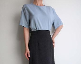 VINTAGE Blouse Tshirt Tee 1980s Cloud Blue Boxy Shirt Shortsleeve Medium