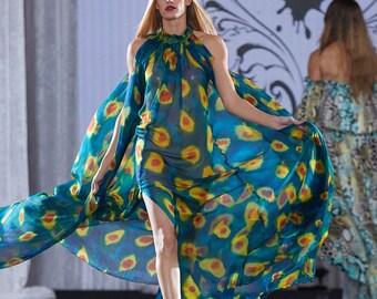 Silk Chiffon Halter Dress/ Long Silk Gown/ Dresses for Women/ Formal Evening Dress/ Long Evening Gown/ Silk Maxi Dress/ Maxi Evening Dress