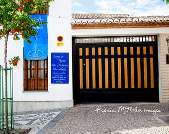Spain Photography, Granada print, large wall art, home decor, architecture photo, blue white, Mediterranean style, Sacromonte street photo