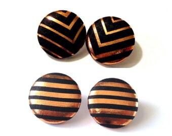 Copper Style Button Earrings