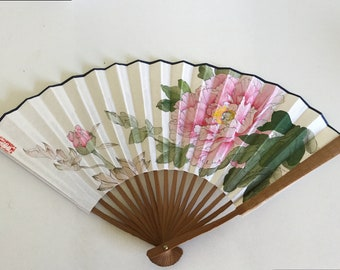 Meticulous Hand painting Chinese fan blooming peony flower