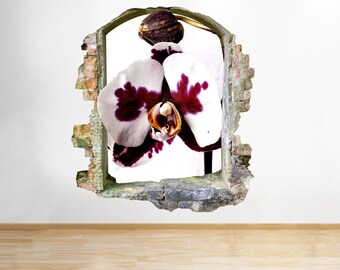 C992 Orchid Flower Nature Living Smashed Wall Decal 3D Art Stickers Vinyl Room[Large (51x58)]