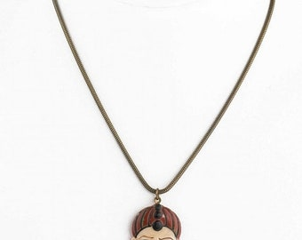 """20% OFF Vintage carved and painted celluloid pendant on 16"""" brass chain. pdvn804cs"""