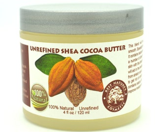 Unrefined Shea - Cocoa Butter. Helps to promote elasticity, healing of chapped skin, reduces or prevents from stretch marks, scars  4 oz