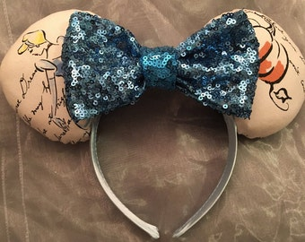 Cinderella Sketch Inspired Minnie Ears! Handmade Sewn & Stuffed- Fits Child to Adult