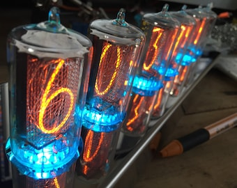 Big nixie tube clock ZM1042 in steel case with fully programmable RVB leds