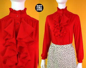 Perfect Vintage 70s Red Ruffle Poet Peasant Hippie Button Down Blouse