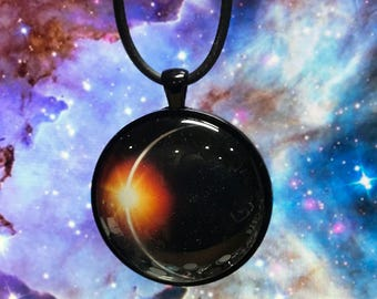 """18"""" Eclipse Necklace (diamond ring image) Rubber necklace."""