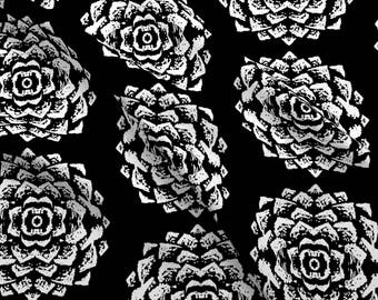 White Flower Fabric - Corn Roses By Blayney-Paul - Black and White Floral Mod Cotton Fabric By The Yard With Spoonflower