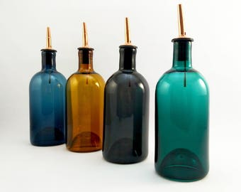 Oil / vinegar bottle - blown glass oil / vinegar cruets - handmade