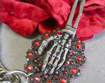 Clutch My Throat: Gothic Necklace Spooky Skeleton Hand Statement Goth Red Jewels Silver Heavy Chain Halloween Day of the Dead
