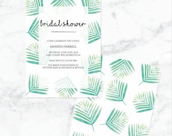 palm branch bridal shower invitation