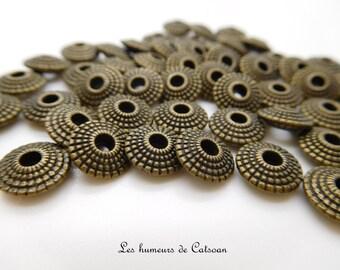 30 8mm bronze metal beads / bead 8mm bronze rondelle /perle saucer