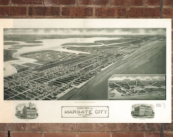 Vintage Margate Photo, Margate Map, Aerial Margate Photo, Old Margate Map, Margate Artist Rendering, Margate Poster, NJ Artwork