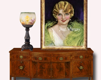 Master Bedroom Art, Guest Room Art, Art Deco  Glamour Girl Sophisticated Lady, Restored Art Print  #116  FREE SHIPPING