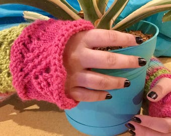 NEW LISTING! Pink and Green Fingerless Gloves