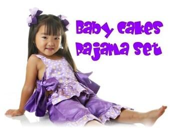 Girls Baby Cakes Pajama set pattern ebook. 2T-4T