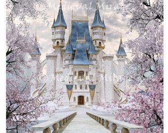 Winter's Tale Revisited. 12x12 & 8x10. Cinderella Castle. Fairy-tale. Fantasy. Digital Background, Backdrop. Commercial use. Photography.