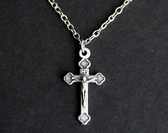 Catholic Necklace. Crucifix Necklace. Charm Necklace. INRI Necklace. Silver Necklace. Catholic Jewelry. Christian Jewelry. Handmade Jewelry.