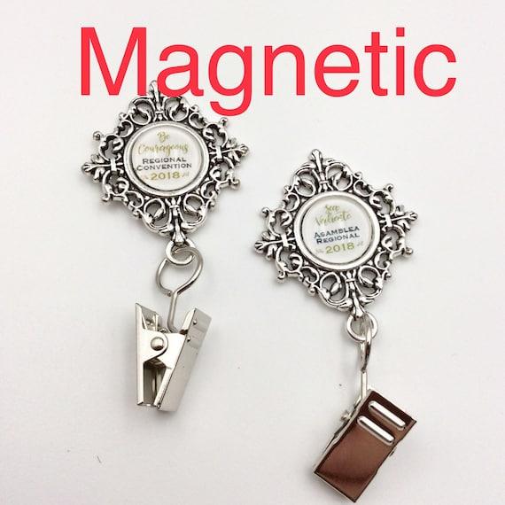 JW Badge Card Holder, Magnetic Closure.  Optional plastic card holder