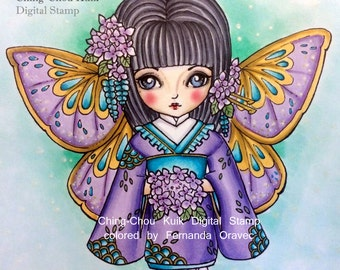 Hydrangea Dollie - Digital Stamp Instant Download /  Cute Japanese Kimono Fairy Doll by Ching-Chou Kuik