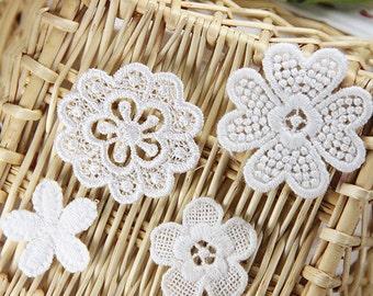 Sewing Lace Applique, Flower applique, Lace Applique, Off white, 10 pcs