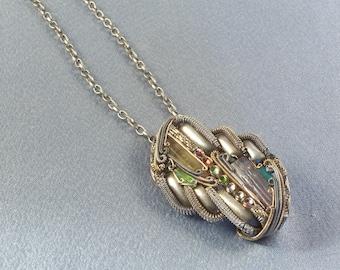 OOAK Jewelry Pendant // Handmade // Many Components // Possible Pendant Or Brooch // Semi Precious Stones // Different Metals // Unusual