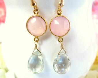 Pink Chalcedony Bezel Green Amethyst Dangle Earrings - Pink and Mint Green Bezel Earrings - Valentines Day Pink Green Gold Filled Earrings