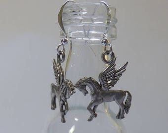 Pegasus winged horse charm drop earrings