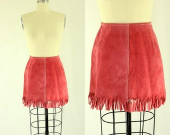 1960's Pink Suede Fringe Mini Skirt XS S