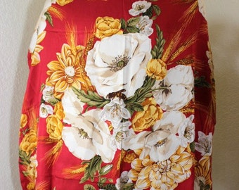 Vintage CHRISTIAN DIOR Red Floral Flower Silk Scarf France