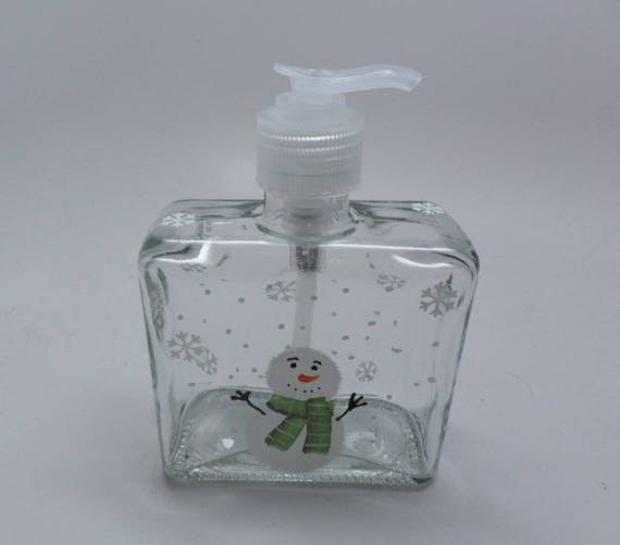 Hand painted Snowman with Green Scarf Soap Dispenser