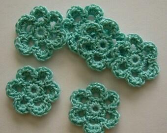 Mini Six Crocheted Flowers - Aqua - Cotton Flowers - Crocheted Flower Embellishments - Crocheted Flower Appliques - Set of 6