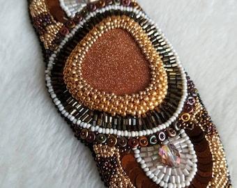 Handmade beadembroidery bracelet, African style