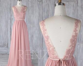 Bridesmaid Dress Dusty Rose,Chiffon Lace Illusion Wedding Dress with Sash,V Back Prom Dress,Boat Neck Maxi Dress Floor Length(L346)