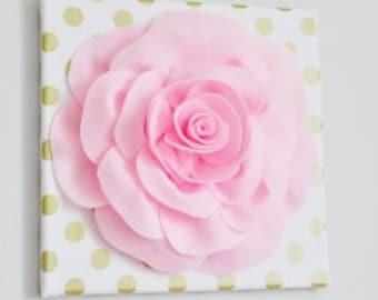 "Nursery - Light Pink Rose on Gold Polka Dot 12 x12"" Canvas Wall Art- Baby Nursery Wall Decor"