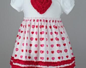Valentine t-shirt dress girl ruffle heart pattern rosette baby onesie toddler RUFFLED ROSETTE