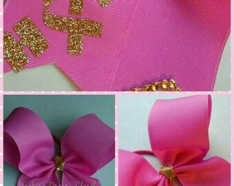 "girl Awareness ""Hope"" pink cheer bow gold glitter vinyl transfer gold ribbon breast cancer elastic hair tie bun"