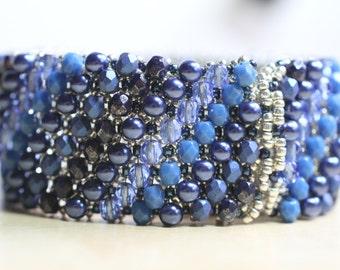 Embellished Netted Bracelet - blue tones