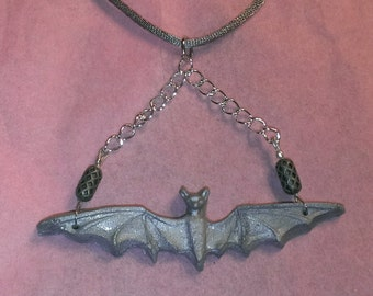 silver flying bat on chain pendant necklace