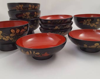 Asian Rice Bowls and Dipping Bowls, Set of 5, Chinese ~ Vintage